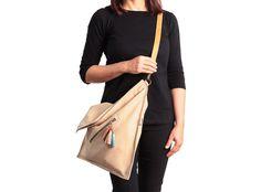 Large cross body bag fold over crossbody purse cream by Percibal
