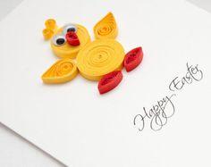 Zabawna kartka na Wielkanoc, kurczaczek wielkanocny, quilling, wyjątkowa kartka wielkanocna