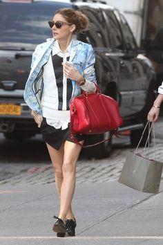 Olivia Palermo wearing Louis Vuitton Sofia Coppola Satchel bag Tibi Daisies Jacket in Baby Blue ZARA Culotte Shorts in Black YOiM furfur Men's Like Dance Shoes  New York city May 13 2013