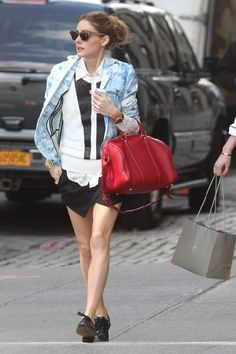 Olivia Palermo wearing  Louis Vuitton Sofia Coppola Satchel bag Tibi Daisies Jacket in Baby Blue ZARA Culotte Shorts in Black YOiM furfur Men's Like Dance Shoes  New York city May 13 2013