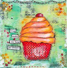 Art Mixed Media Print  You Make My Heart So by PetitesDollsbyMoki, $18.00