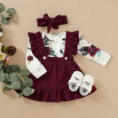 Baby / Toddler Floral Print Bodysuit, Suspender Skirt and Headband Set Cute Baby Girl Outfits, Dresses Kids Girl, Baby Outfits Newborn, Cute Baby Clothes, Kids Outfits, Cute Outfits, Baby Girl Skirts, Baby Skirt, Baby Dresses