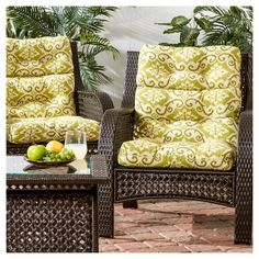 Set Of 2 Shoreham Ikat Outdoor High Back Chair Cushions - Kensington Garden : Target Outdoor Cushions And Pillows, Seat Cushions, Wicker Patio Furniture Sets, Pillows Online, High Back Chairs, Cushion Filling, Outdoor Fabric, Wingback Chair, Home And Garden