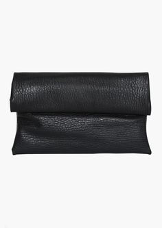 Lunch sack, roll top leather clutch