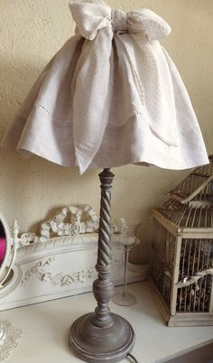 """Lampe """"Eglantine"""" - lampe de table - La Grange aux Chiffons - Fait Maison Shabby Chic Lamps, Country House Design, Lamp Shades, Color Themes, Decoration, Neutral Colors, Lounge, Lighting, Chandeliers"""