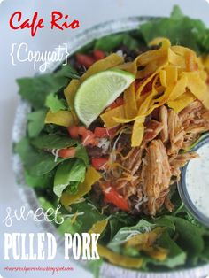 Cafe Rio {Copycat} Sweet Pulled Pork.  This tastes exactly like Cafe Rio!  Recipe complete with Homemade tortillas, cilantro rice, and everything you need for a Cafe Rio night!