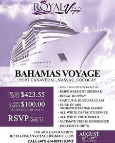"This August 26th-29th I will have the honor to teach my #StomachSculptingStandingAbs classes for The First Annual #RoyalVisionVoyage- Bahama's Voyage (#PortCanaveral #Nassau & #Cococay). This cruise features a women's empowerment seminar regal runway FREE ""beauty defined"" make &!skin care class daily #StomachSculptingStandingAbs classes with me & more! Be sure to tell @visionavant & @sashaespada your my follower and receive FREE#StomachSculpting online training until the cruise…"