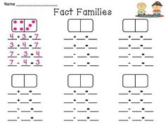 Fact Families math station - a bunch of print and go dominoes math stations! Make for multiplication and division Math Classroom, Kindergarten Math, Teaching Math, Fun Math, Math Activities, Maths Puzzles, Math Stations, Math Centers, 1st Grade Math