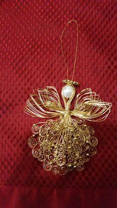Gold Handmade Wire Angel Ornament, Christmas Ornament, Shelf  Decoration, Ceiling Fan Ornament,  Guardian Angel