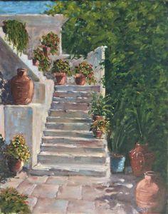 Fel a lépcsőn Up the stairs Basamaklar 50 x 40 cm  oil on canvas