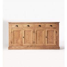 Meuble enfilade 4 portes 4 tiroirs en pin massif ciré miel
