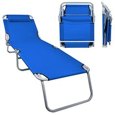 Flexzion Patio Lounge Chair Sea Blue   Portable Folding Chaise Bed For  Outdoor Indoor Furniture Home
