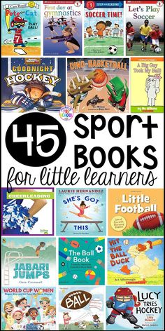 Sports theme booklist and for preschool, pre-k, and kindergarten. Most of these books can be used for a ball study or ball theme too. Preschool Books, Kindergarten Literacy, Book Activities, Preschool Activities, Thing 1, Toddler Books, Children's Picture Books, Little Learners, Book Themes
