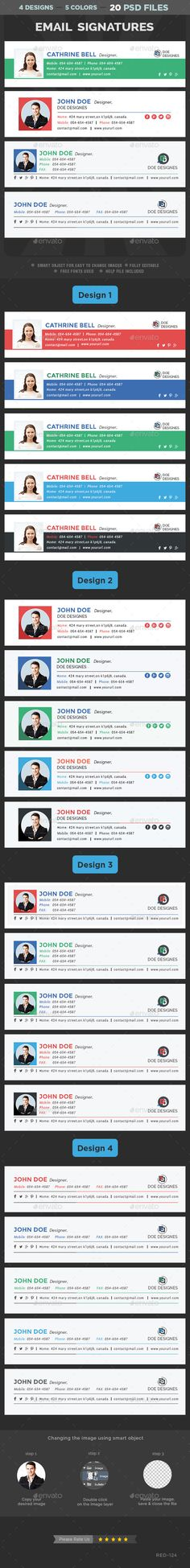 Email Signature Templates - 4 Designs - 5 colors by doto Email Signature Templates 4 Designs, 5 colors each. Clean & Professional Design Multipurpose Use Completely editable Easily c