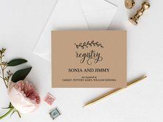 printable wedding registry card template printable rustic hearts