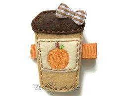 Pumpkin Latte Hair Clip Girls Drink Hair Clip by DiddlebugsAndMe