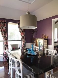 Dining room, black and white striped chairs, curtain fabric from Mood.