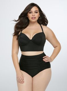 8a6e9aa4224 Adogirl Plus Size Swimwear New Women Black Ruched Halter Bra Padded High  Waist Swimsuit Sexy Seamed Bathing Suit