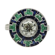 Art Deco Ring - 18K White Gold Emerald and Sapphire                                                                                                                                                                                 More