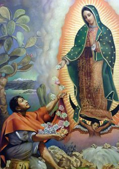 Our Lady of Guadalupe, or Virgin of Guadalupe, is a Roman Catholic title of the Blessed Virgin Mary. Religious Pictures, Jesus Pictures, Religious Icons, Religious Art, Catholic Art, Catholic Saints, Jesus Helguera, Image Jesus, Jorge Gonzalez
