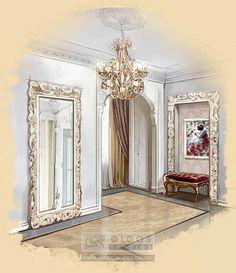 classic flat hall drawing http://interior-design.pro/en/hallway-interior-design