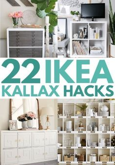 Best IKEA hacks 2019 and IKEA kallax hack for tv stand. Find out how to stack kallax and kallax bookshelf room divider ideas. Best cheap DIY home decor projects 2019 using IKEA furniture. furniture cheap 21 IKEA Kallax Hacks That You Need In Your Home Now Hacks Ikea, Ikea Hack Storage, Ikea Kallax Hack, Ikea Furniture Hacks, Diy Hacks, Ikea Furniture Makeover, Kallax Desk, Ikea Hackers, Storage Ideas