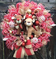 Rudolph Wreath Christmas Wreath Christmas Mesh by BaBamWreaths