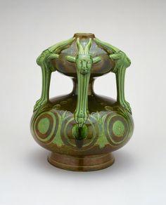 Christopher Dresser English, born Scotland, 1834-1904 Made by Ault Pottery Swadlincote, Derbyshire, England, 1887-1923, Grotesque Vase