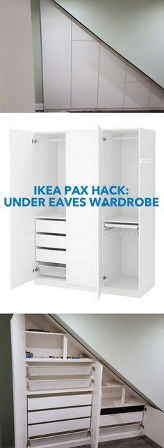 A Classy High Gloss Bespoke Loft Wardrobe (Under Eaves) www. hacks closet pax wardrobe How to make a Classy High Gloss Bespoke Loft Wardrobe - IKEA Hackers Attic Wardrobe, Attic Closet, Wardrobe Storage, Room Closet, Ikea Wardrobe Hack, Ikea Closet Hack, Closet Hacks, Wardrobe Organisation, Attic Organization