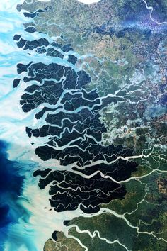 The Sundarbans is the largest single block of tidal halophytic mangrove forest in the world which covers parts of India and Bangladesh by NASA