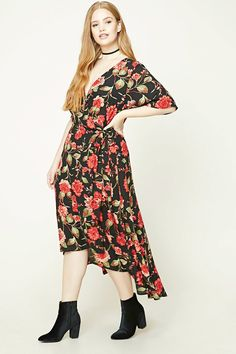 Forever 21+ - A woven floral print dress featuring a surplice neckline with a wrap style, a self-tie sash, short flounce sleeves, and a high-low hem.
