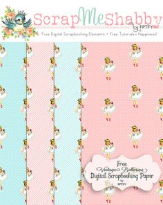 Free  vintage ballerina digital scrapbooking paper...love this, very retro!