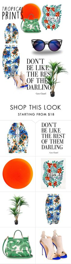 """tropical as hell"" by soleil-zandbergen ❤ liked on Polyvore featuring New Look, Manic Panic NYC, Dolce&Gabbana, Giuseppe Zanotti and tropicalprints"