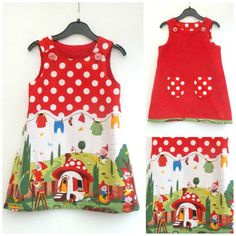 79186f2ab Girl's Gnome Dress, Girl's Reversible Dress, A line, Girl's Pinafore, Pinny  Jumper, Children's Clothing, Girl's Clothing, Red Dress, Toddler