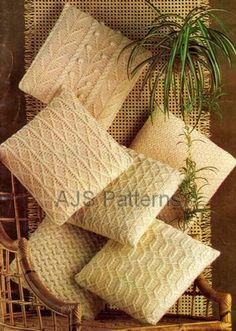 PDF Knitting Pattern For Assorted Aran Cushions by place4patterns, £2.50