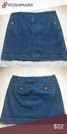 "J. Crew Jean Skirt Like New; 98% cotton; 2% Polyurethane; No damages; smoke free and pet free home; 15"" long J. Crew Skirts"