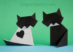 Origami cats - tutorial by Origami Spirit Origami Design, Diy Origami, Origami Swan, Origami Ball, Origami Paper Art, Origami Dragon, Origami Fish, Useful Origami, Origami Butterfly