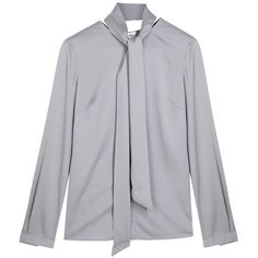 Womens Blouses Armani Collezioni Grey Satin Blouse ($540) ❤ liked on Polyvore featuring tops, blouses, grey blouse, armani collezioni, gray top, gray blouse and grey top