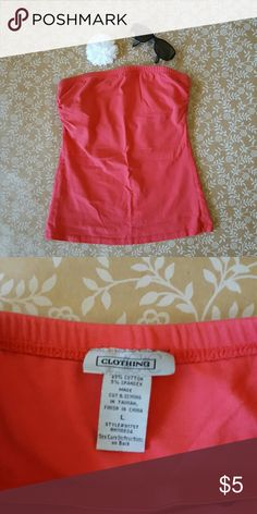 LG Coral Strapless Top Basic, coral colored Top with built in layer bra. Not thick cups or padding, extra layer only. LIGHT wear. CC Clothing Tops Tank Tops