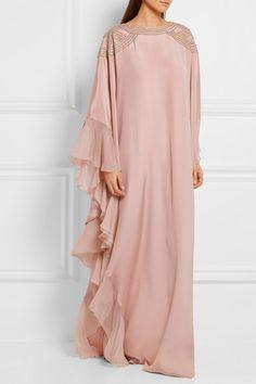 Blush silk crepe de chine Hook-fastening keyhole at back silk Dry clean Islamic Fashion, Muslim Fashion, Modest Fashion, Modest Wear, Modest Outfits, Estilo Hippy, Kaftan Style, Abaya Designs, Abaya Fashion