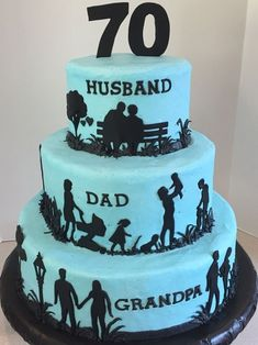 Hobbies can be portrayed like fishing, golfing, hunting etc. and with different background colors etc. 70th Birthday Cake For Men, Special Birthday Cakes, Beautiful Birthday Cakes, 70 Birthday, Birthday Cookies, Birthday Ideas, Silhouette Cake, Dad Cake, Birthday Cake Decorating