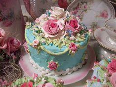 Gorgeous Aqua Pink pastel faux cake from Rhonda's Rose Cottage Designs