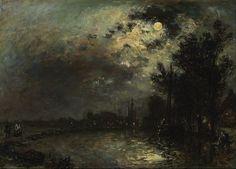 Johan Barthold Jongkind ~ View on Overschie in Moonlight~1872.