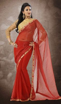 Coral Embroidered Georgette Shimmer Saree Price: Usa Dollar $96, British UK Pound £57, Euro71, Canada CA$104 , Indian Rs5184.