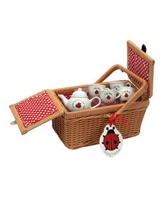 Look at this #zulilyfind! Ladybug Tea Set & Basket #zulilyfinds