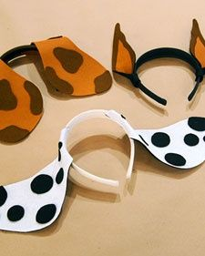 Every child can be top dog with these easy-to-make Dalmatian, Doberman pinscher, and basset hound ear headbands.