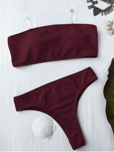 Textured High Leg Bandeau Bikini Set - BURGUNDY S