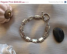 25% Off Silver Bracelet Geometric Silver Beads Bee Hive Beads