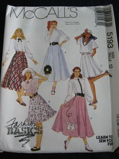 Poodle Skirt Sewing Pattern Circle Sock Hop Optional Ruffle And Record Appliques Size 8 Waist Cm McCalls 5193 S
