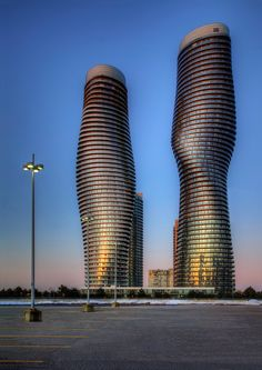 Absolutely World, residential condominiums in Mississauga Ontario, nicknamed Marilyn Munroe Towers. By Roland Shainidze
